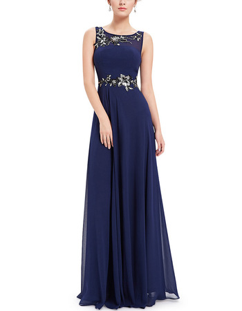 2018 Style Sleeveless Floor Length Chiffon Applique Evening Dresses