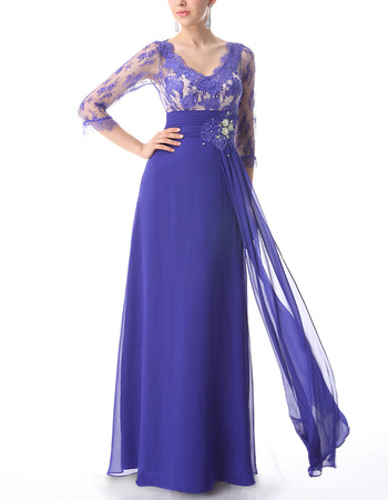 Formal Long Lace Chiffon Evening Dresses with 3/4 Long Sleeves