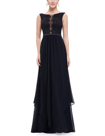 Sexy A-Line Sleeveless Floor Length Chiffon Lace Evening Dresses