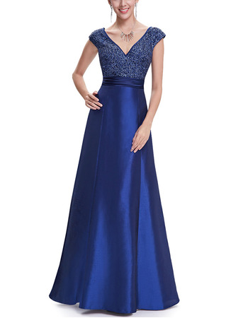 2018 New Style A-Line V-Neck Floor Length Taffeta Evening Dresses