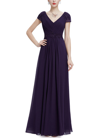 Custom V-Neck Floor Length Chiffon Evening Dresses with Short Sleeves