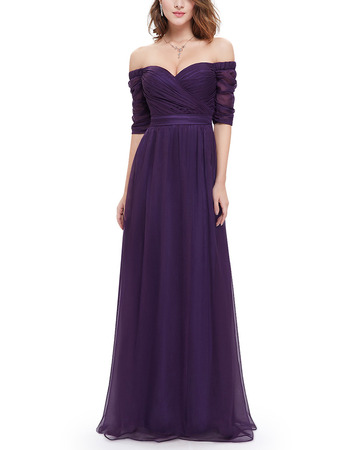 Elegant Sweetheart Floor Length Chiffon Evening Dress with Half Sleeves