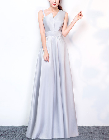 2018 New Style Asymmetric Floor Length Satin Evening Dresses
