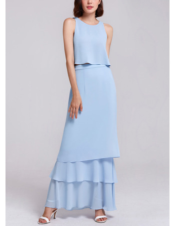 Custom Sleeveless Floor Length Chiffon Two-Piece Evening Dresses