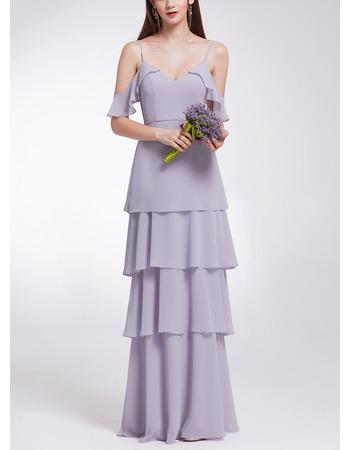 Affordable Spaghetti Straps Long Chiffon Layered Skirt Evening Dresses