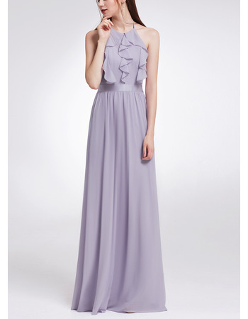 Custom Halter Sleeveless Floor Length Chiffon Ruffle Evening Dresses