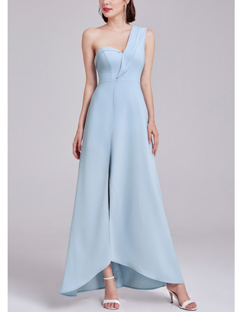Discount One Shoulder High-Low Satin Evening Dress with Slit