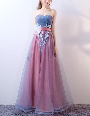 Elegant Sweetheart Floor Length Contrast Color Evening Dresses
