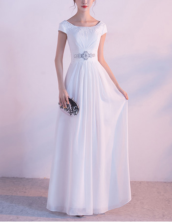 Custom Floor Length Chiffon Evening Dresses with Short Sleeves