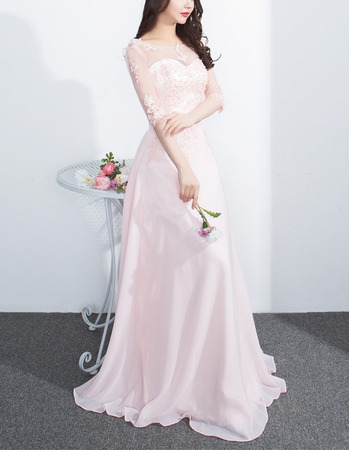 Inexpensive Floor Length Chiffon Evening Dresses with Half Sleeves