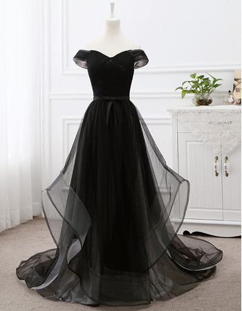 2018 Style Off-the-shoulder Sweep Train Organza Black Evening Dresses