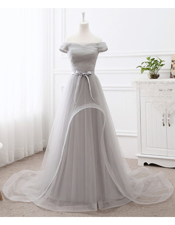 Custom Off-the-shoulder Sweep Train Organza Evening Dress with Sash
