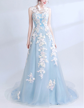 Affordable Sleeveless Long Satin Tulle Evening Dress with Applique