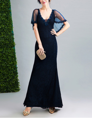 Elegant Sheath V-Neck Floor Length Lace Evening Dress with Shawl