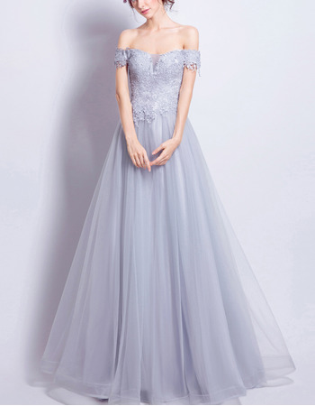2018 New Style A-Line Off-the-shoulder Floor Length Evening Dresses