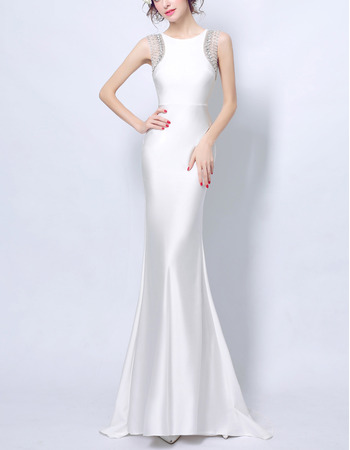 Discount Sheath Sleeveless Floor Length Satin Evening Dresses