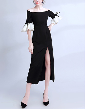 Sexy Off-the-shoulder Tea Length Evening Dress with Short Sleeves