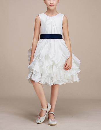 Stunning Knee Length Ruffle Skirt Flower Girl Dresses with Sashes
