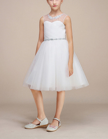 2018 Style A-Line Knee Length Satin Organza Flower Girl Dresses