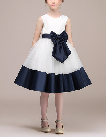Custom A-Line Knee Length Satin Flower Girl Dresses with Belts