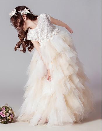 Inexpensive Floor Length Lace Ruffle Skirt Flower Girl Dresses