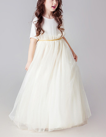 Lovely Floor Length Organza Flower Girl Dresses with Short Sleeves