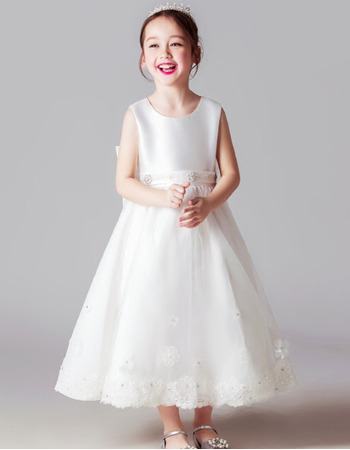 2018 New Style Sleeveless Tea Length Satin Flower Girl Dresses