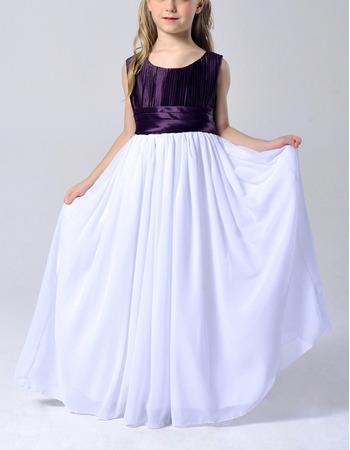 Inexpensive Sleeveless Floor Length Chiffon Flower Girl Dresses