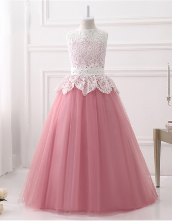 Adorable Ball Gown Sleeveless Floor Length Lace Flower Girl Dresses
