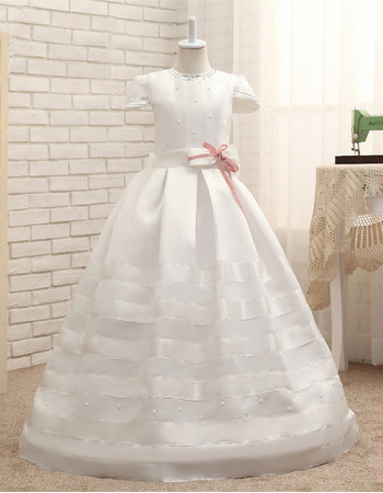 Adorable Floor Length Satin Flower Girl Dresses with Cap Sleeves