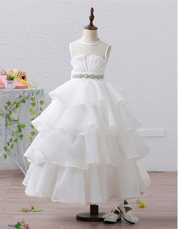 Custom Tea Length Organza Tulle Layered Skirt Flower Girl Dresses