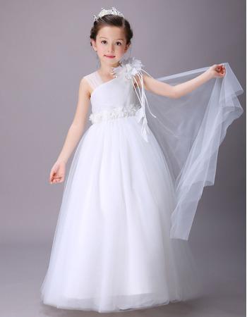 2018 New Style Asymmetric Floor Length Satin Flower Girl Dresses