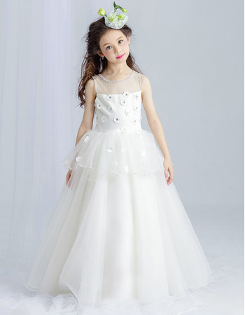 Discount Floor Length Satin Organza First Communion Dress with Applique