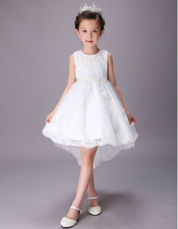 Stunning A-Line Sleeveless High-Low Short Satin Flower Girl Dresses