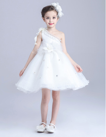 2018 New A-Line One Shoulder Sleeveless Short Satin Flower Girl Dress