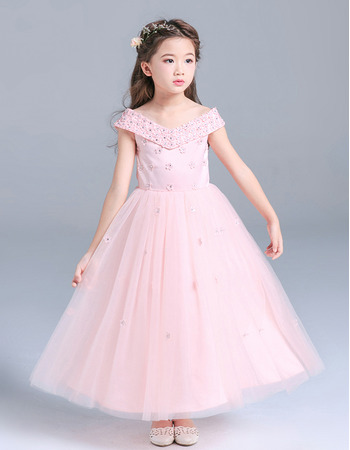 Custom V-Neck Tea Length Flower Girl/ Little Girls Party Dresses