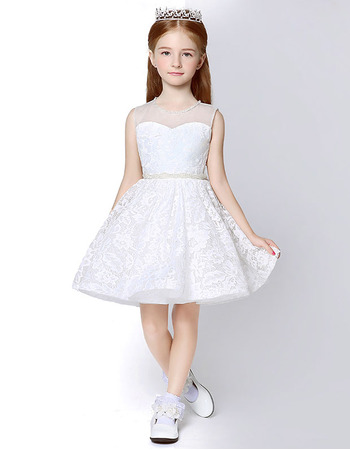2018 Style A-Line Sleeveless Mini/ Short Lace Flower Girl Dresses