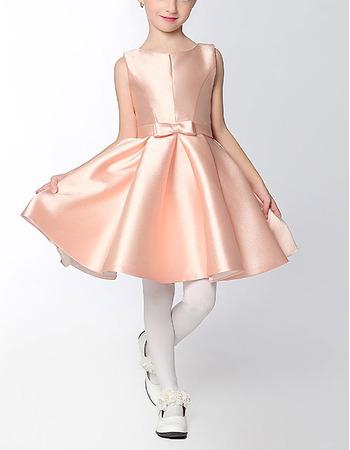 Custom A-Line Sleeveless Mini/ Short Satin Flower Girl Dresses