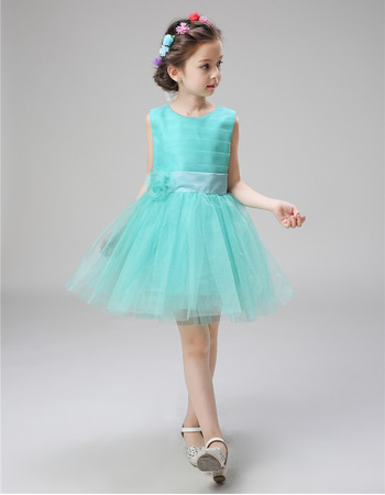 Affordable Sleeveless Mini/ Short Satin Organza Flower Girl Dresses