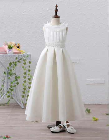 2018 New Style Tea Length Flower Girl / First Communion Dresses