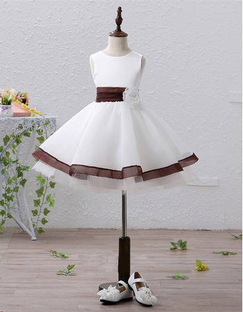 Inexpensive A-Line Short Satin Flower Girl Dresses with Belts