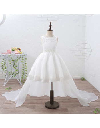 Adorable Ball Gown Short Flower Girl Dresses with Detachable Train