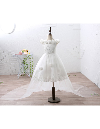 2018 Off-the-shoulder Short Flower Girl Dress with Detachable Train