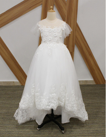 Adorable High-Low Flower Girl/ Communion Dresses with Short Sleeves