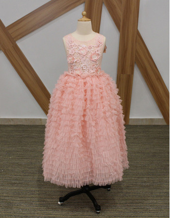 2018 New Style Tea Length Ruffle Skirt Pink Flower Girl Dresses