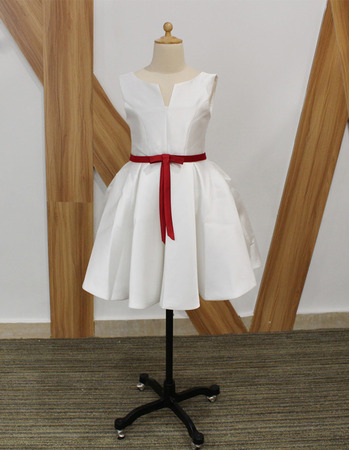 Custom Sleeveless Short Taffeta Flower Girl Dresses with Belts