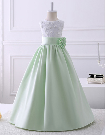 Discount A-Line Sleeveless Floor Length Satin Lace Flower Girl Dresses