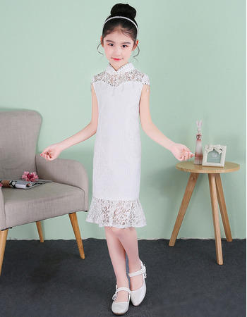 Stunning Column Mandarin Collar Short Lace Flower Girl Dresses