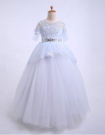Custom Ball Gown Floor Length Flower Girl Dresses with Half Sleeves