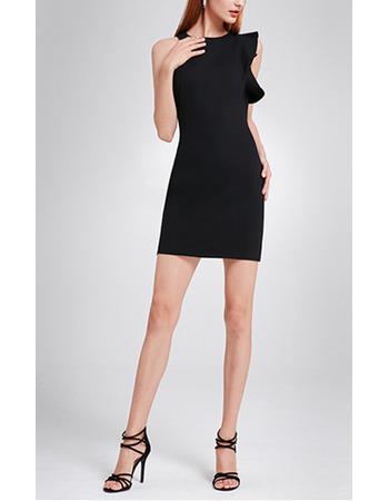 Custom Column Asymmetric Short Little Black/ Homecoming Dresses